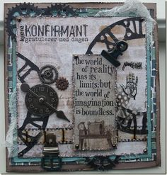 Konfirmasjonskort Steampunk Cards, Masculine Cards, Tim Holtz, Genealogy, Clocks, Fathers, Vintage Style, Mixed Media, Scrapbooking