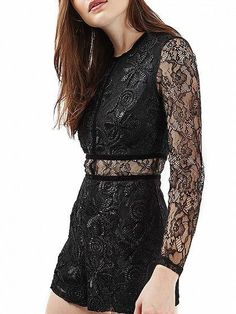 24d542f036ae Black Embroidery Sheer Sleeve Lace Romper Playsuit