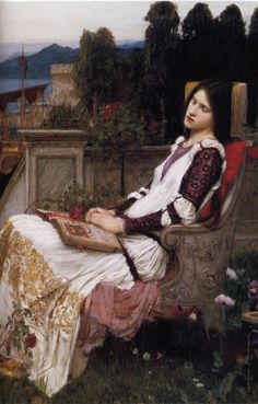 St. Cecilia (detail)  John William Waterhouse (1849 - 1917)  Love the restful portrait/landscape combo.
