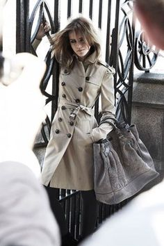 Emma Watson in Burberry, London.