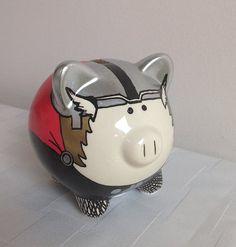 Miniature Hand Painted Thor Piggy Bank  Marvel by PalladiumPulse