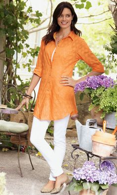 Great site for older women's fashion. Love this top- textured, long to cover, and light enough for Texas summer.