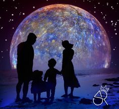 Silhouette, family, enlight, planet, beach, kids
