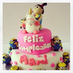 Minions cake with agnes and fluffy unicorn from dispicable me movie by Cake Mania Ec