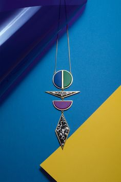 Egyptian Granite, rare and handmade + resin handmade too  Inspired by Memphis movment and architecture... Totem Sautoir #argumentbijoux  www.argument-bijoux.com  pic : ELodie FARGE + Flora LECLUSE