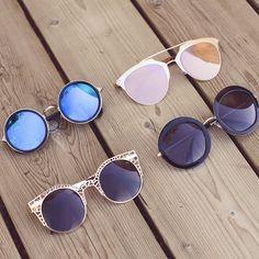 Margot Round Sunglasses - Silver/Blue