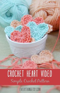 Crochet Heart Video - Free Crochet Pattern by EverythingEtsy.com Free Heart Crochet Pattern, Afghan Crochet Patterns, Free Crochet, Crochet Hearts, Easy Diy Crafts, Yarn Crafts, Crafts To Make, Decor Crafts, Paper Crafts