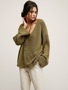 La Brea V-Neck Sweater from Free People! Olive, XS