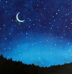 Night Sky Painting Kids Wall Art Nursery Decor by SunlitCo - Art Painting Cute Canvas Paintings, Easy Canvas Painting, Easy Paintings, Painting For Kids, Diy Painting, Painting & Drawing, Canvas Art, Galaxy Painting, Star Painting
