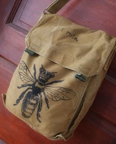 Vintage Czech Military Queen Bee I RULE bag by meatbagz on Etsy