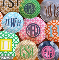 Could monogram fabric and mod podge to the underside of glass plates!