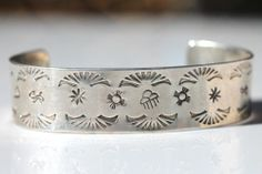 Vintage Signed Navajo Style Stamp Decorated Sterling Silver Cuff Bracelet | eBay
