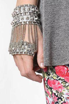 'Bleudame' Spike and Chain Hand Bracelet
