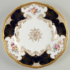 VictorianHighTea.com collection. Antique Coalport Ornate Batwing Cobalt Floral Gold Trimmed Plates 1891-1921