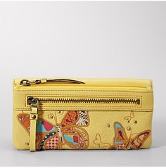 fossil bright n summery wallet Fossil Wallet, Fossil Watches, Fossil Handbags, Tote Handbags, Tote Bags, Jewel Makeup, Flower Bag, Clutch Wallet, Women's Accessories