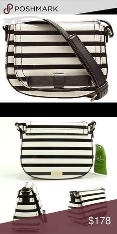 """♠️ KSNY Chelsea Park Stripe Crossbody Patent leather with cowhide trim 6.5""""(L) x 5(H) x 3""""(D) - Measures small Adjustable crossbody strap Flap front with snap closure Interior features slip pocket kate spade Bags Crossbody Bags"""
