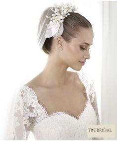A Line Square Sweetheart Lace Long Sleeve Chapel Train Organza Wedding Dresses