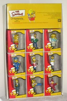 Simpsons Christmas Ornaments with Store Display Homer Nelson Burns Ralph Moe Milhouse Barney Krusty $216