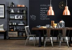 DARK DINING AREA WITH INDUSTRIAL TOUCH - 79 Ideas - like the pendant lights - over the bar?