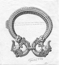 Drawing of a Viking brooch made of bronze and copper alloy.