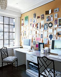 A burlap-covered wall serves as an inspiration board inside the sunlit family office at Ellen Rakieten's Chicago apartment, which was decorated by her friends Anne Coyle and Nate Berkus.