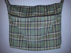 Messenger Bag - Back to School- Green Plaid Corduroy
