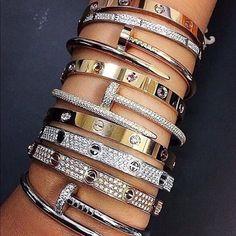 Cartier Bracelet, Cartier Jewelry, Pandora Jewelry, Love Bracelets, Bangle Bracelets, Bangle Set, Bracelet Set, Bling Bling, Cowgirl Bling