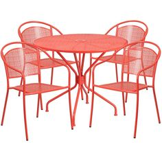 iHome Westbury Square Coral Indoor-Outdoor Steel Table Set Round Back Chairs for Restaurant/Bar/Pub/Patio, Pink, Size Sets, Patio Furniture Patio Bar Set, Patio Table, Patio Chairs, Patio Dining, Arm Chairs, Dining Room, Dining Table, Dining Chairs, Outdoor Dining Set