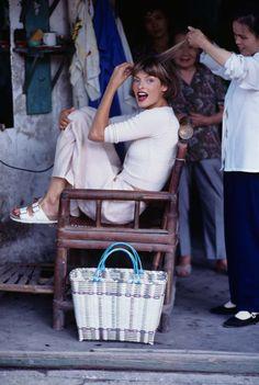 Linda Evangelista, photographed by Arthur Elgort, Vogue, December 1993.