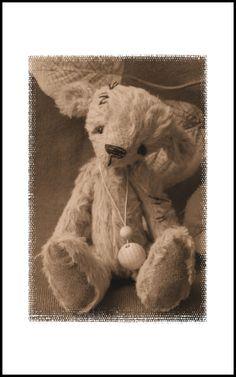 Autumn Hugs. autumn miniature vintage style art bear.