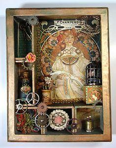 Letterbak - Wandbord - Vitrinekast *Shadow Box - Configuration Box  ~Thema: Art Nouveau - Mucha~