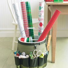 Go-Anywhere Bucket for Wrapping Paper. Step-by-Step, DIY Craft How To's and Instructions!