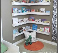 Children's books storage idea  ARE THOSE GUTTERS?