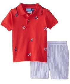 Baby Boy Outfits, Kids Outfits, Short Set, Sailboats, Striped Shorts, Cool Style, Picnic, Polo, Knitting