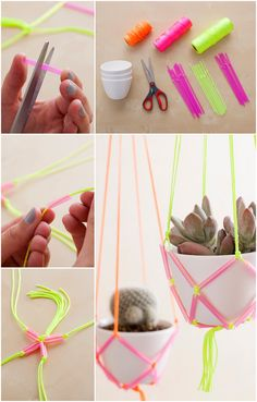 Neon Straw Hanging Planters » I need to give this a go! Awesome #DIY