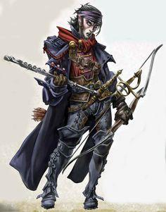 m Half Elf Bard flute Longbow Rapier Dagger Cape