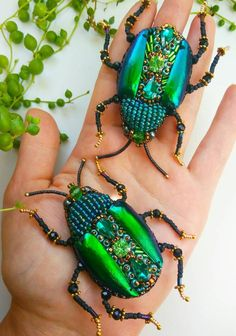Your place to buy and sell all things handmade Fabric Beads, Fabric Jewelry, Brooches Handmade, Handmade Jewelry, Beaded Spiders, Do It Yourself Jewelry, Bug Art, Insect Jewelry, Insect Art