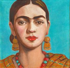 Frida Kahlo And Mexican Blue Sky  Premium Canvas by FridaKahloArt
