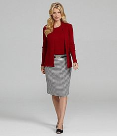I have a houndstooth pencil skirt, love it with the burgundy or red tops.