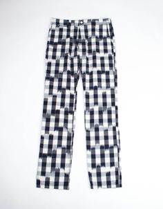 Kentucky Derby Pants...  BLURRED GINGHAM CHINO PANT   Chino pant in blurred dark navy gingham with white resin buttons and cotton drill pocketing.