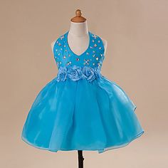 Ball Gown Jewel Halter Neck Knee-length Flower Girl Dress – USD $ 49.99