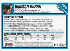 2007 Bowman Draft Picks & Prospects - Chrome Futures Game Prospects Refractors #BDPP88 German Duran Back