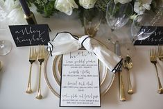Stylish wedding menu and place setting | Everest Road Photography | see more on: http://burnettsboards.com/2014/05/style-bistro-wedding-reception/