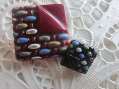 Vintage Button- 2 beautiful Art Deco square designs, medium and small colorful hand pained acenets, very old, glass buttons (no. mar 429) by pillowtalkswf on Etsy