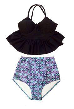 Noir Long Peplum rembourré de tankini et Bikini géométrique 2PC maillots de bain maillot de bain bain bain bain Sailor costume Costumes Swim usure porte S M L XL par venderstore sur Etsy https://www.etsy.com/fr/listing/201405493/noir-long-peplum-rembourre-de-tankini-et