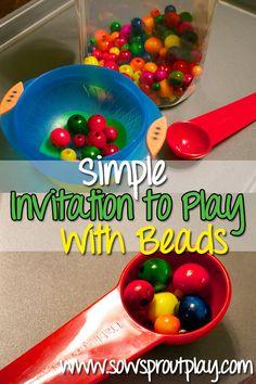 Simple bead play - scoop, pour, sort