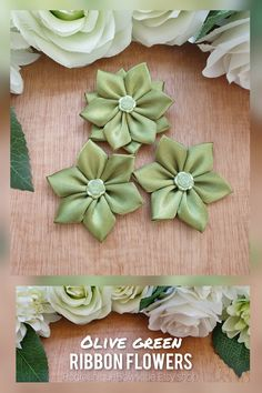 This is a listing for a beautiful set of 3 olive green ribbon flowers made of: 2 simple flowers and 1 double layered flower. The flower appliques are perfect for any DIY project! Can be used for creating headbands, hair accessories, brooches, bouquets, corsages, mason jars, embellishing a scrapbook, making a greeting card or adding a special touch to a gift package. #flowers #ribbonflowers #flowersupplies #crafts #etsyflowers Green Ribbon, Simple Flowers, Flower Applique, Gift Packaging, Flower Making, Olive Green, Headbands, Embellishments, Greeting Card