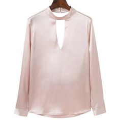 Open Back Choker Detail Satin Blouse ($19) ❤ liked on Polyvore featuring tops, blouses, open back tops, pink satin blouse, pink top, pink blouse and open back blouse