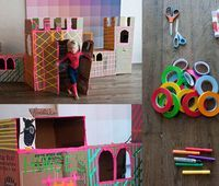 Transform cardboard boxes into a village or skyline with a creative use of colorful tape.
