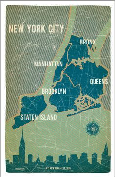 The five Boroughs of NYC. Look how small Manhattan is in comparison to Brooklyn and Queens. Yet most of the famous sights are on that little island!